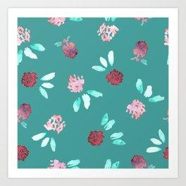 Clover Flowers Pattern on Mint Green Art Print