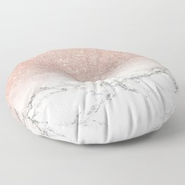 Modern faux rose gold pink glitter ombre white marble Floor Pillow