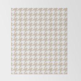 Houndstooth: Beige & White Checkered Design Throw Blanket