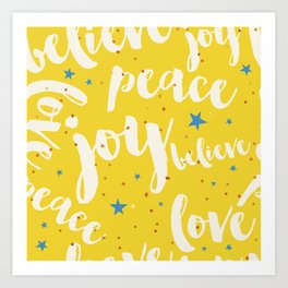 Peace & Joy Typography Yellow Background Art Print