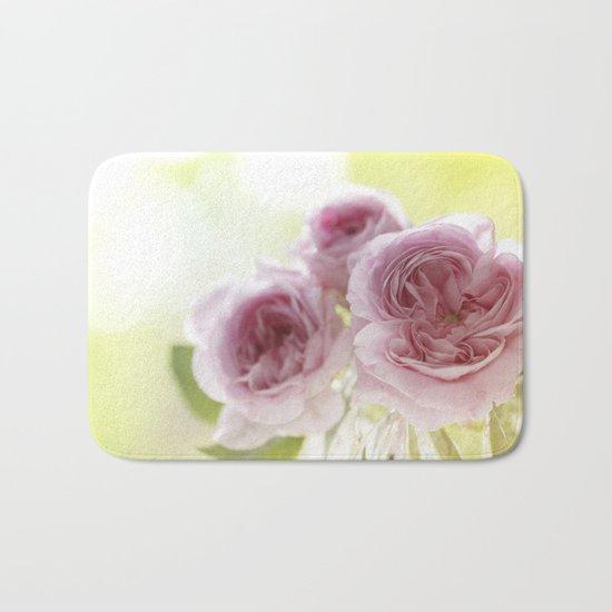Pink Roses in crystal bowl - Vintage Stilllife- Rose Flower Bath Mat