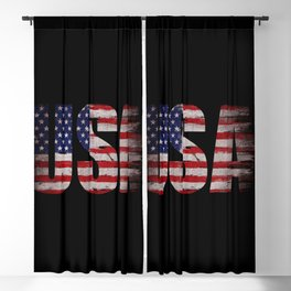 USA flag Grunge Blackout Curtain