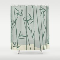 bamboo Shower Curtains featuring Bamboo by Rceeh