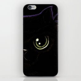 My fat, black cat with green eyes and a purple aura! iPhone Skin