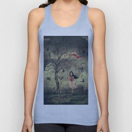 Girl on a swing in the woods Unisex Tank Top