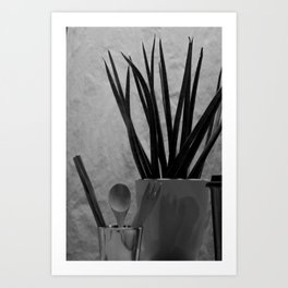Agave, Spoon tea & Fork in Cup, A Art Print