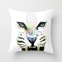 cheetah Throw Pillows featuring Cheetah  by Tetevi Teteh