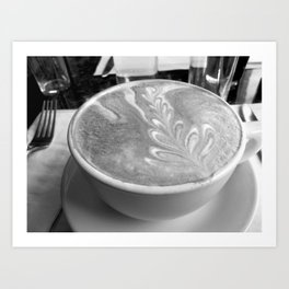 """""""For The Love Of Latte, B&W"""" Coffee Photography, Food Photo Art Print"""