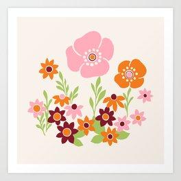 Pretty Retro Floral Art Print