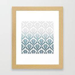 DAMASK GREY TO TEAL Framed Art Print
