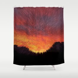 Explosive Sunset Shower Curtain