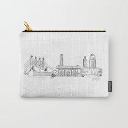 Kansas City Skyline Illustration Black Line Art Carry-All Pouch
