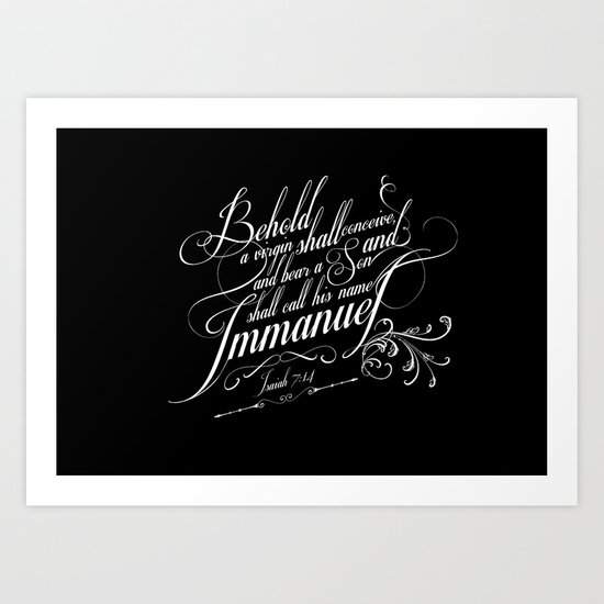Typographic Motivational Bible Verses - Isaiah 7:14 Art Print