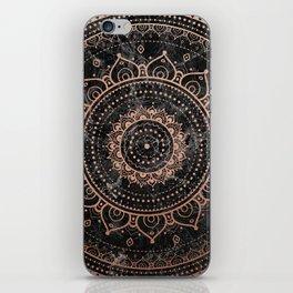 Mandala - rose gold and black marble iPhone Skin