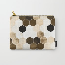 Honeycombs print, sepia colors hexagons with stone effect Carry-All Pouch
