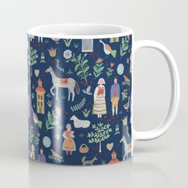 Swedish Folk Art - Blue Coffee Mug