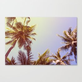 Retro Landscape of Tropical Island with Palm Trees Canvas Print