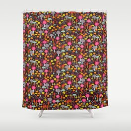 dark toadstools and mushrooms Shower Curtain