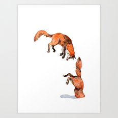 Jumping Red Fox Art Print