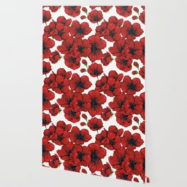 Poppies Pattern Wallpaper
