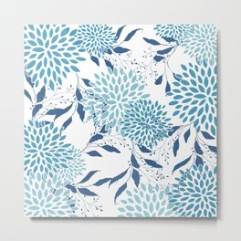 Floral Leaves and Blooms, Teal and Blue, Modern Print Art Metal Print