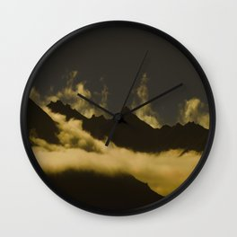 Mid Century Modern Round Circle Photo Graphic Design Mysterious Black Mountains With Rising Clouds Wall Clock