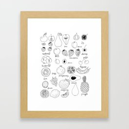 Hand  drawn collection of various fruits Framed Art Print