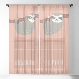 Sloth card - hello beautiful Sheer Curtain