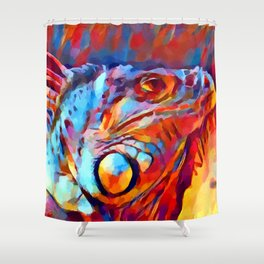 Iguana Watercolor Shower Curtain