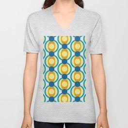 Retro Circle Pattern Mid Century Modern Turquoise Blue and Marigold Unisex V-Neck
