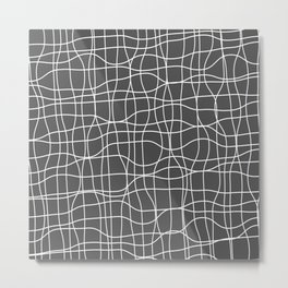 Crosshatch, white lines on dark gray Metal Print