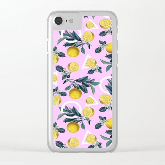 Geometric and Lemon pattern Clear iPhone Case