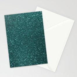Deep Aqua BlueTurquoise Glitter Stationery Cards