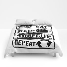 Eat Sleep Barbecue Repeat - Grill BBQ Smoker Comforters