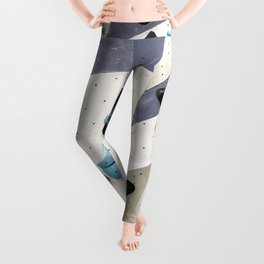Geometric abstract free climbing bouldering holds black blue men Leggings