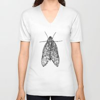 moth V-neck T-shirts featuring moth by Eric Tiedt