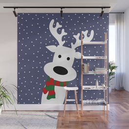 Reindeer in a snowy day (blue) Wall Mural
