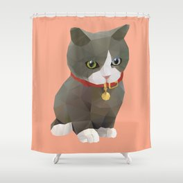 Kitten Polygon Art Shower Curtain