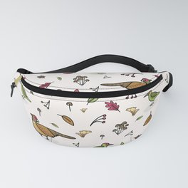 Cute woodpecker and pheasant cartoon pattern Fanny Pack