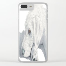 Sleepy Labradoodle Pup Clear iPhone Case