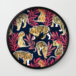 Nouveau yellow tigers // navy blue background red leaves white lines yellow gold animals Wall Clock