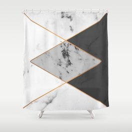 Geometric marble & copper Shower Curtain