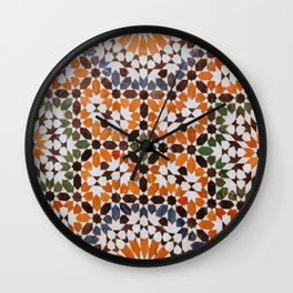 Orange flower pattern Wall Clock