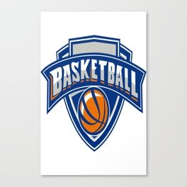 Basketball Ball Shield Text Retro Canvas Print