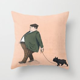A Man with a Dog Throw Pillow
