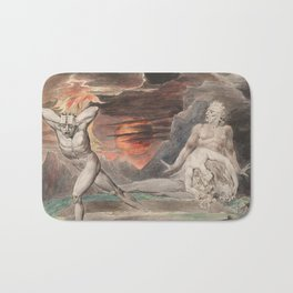 CAIN FLEEING FROM THE WRATH OF GOD - William Blake Bath Mat