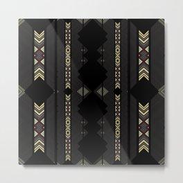 Southwestern Black Diamond Stripe Patterns Metal Print