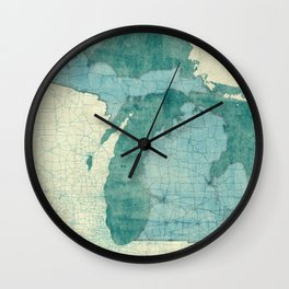 Michigan State Map Blue Vintage Wall Clock