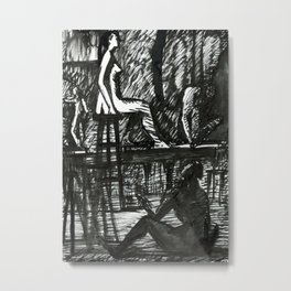 Figure in the interior. Hand drawn Ink Illustration. Metal Print