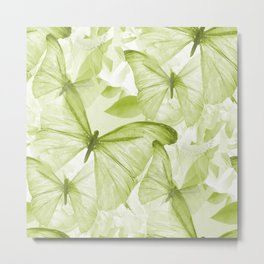 Butterflies And Flowers Green Illustration On White #decor #society6 #buyart Metal Print